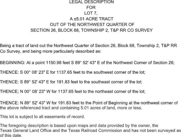Lot 7 Legal Description