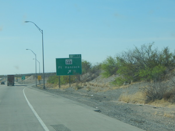 Exit 72 from I-10 to Fort Hancock