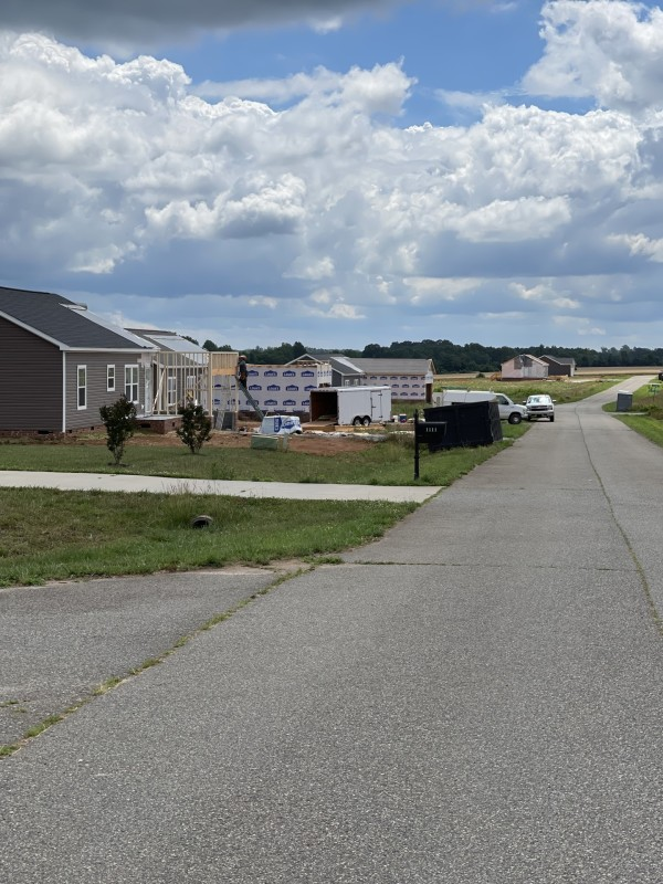 New subdivision across the lot