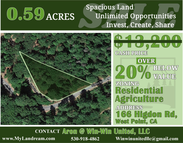 0.59 Acres for Sale in West Point, CA