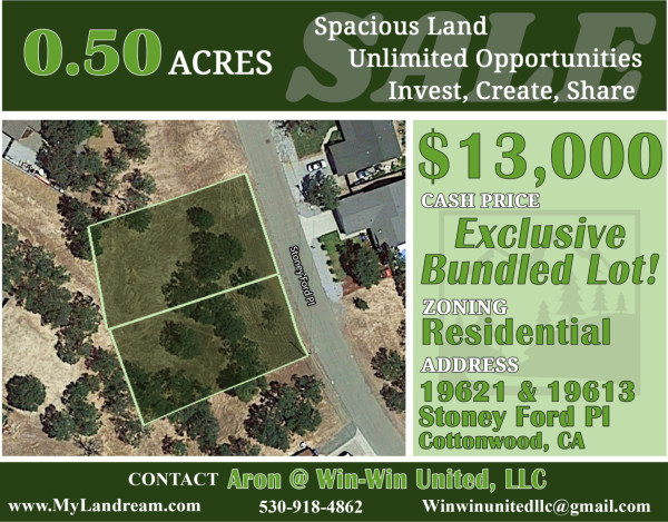 2 Lots for Sale in Cottonwood, CA
