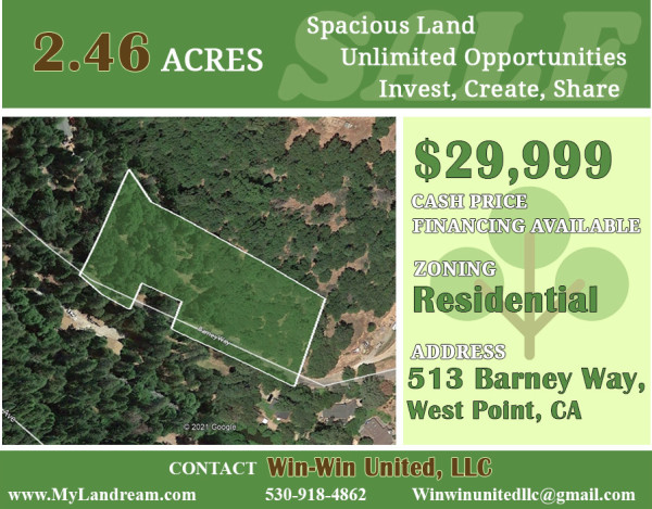 2.46 Acres for Sale in West Point, CA