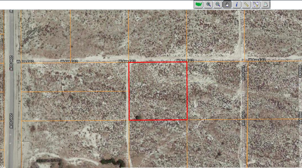 aerial view with property lines in red