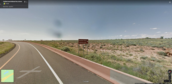 Petrifed Forest National Park sign exit ramp
