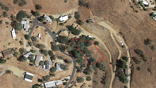 aerial view with parcel indicated in red